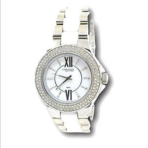 Anne Klein Crystal Mother-of-Pearl Dial Watch